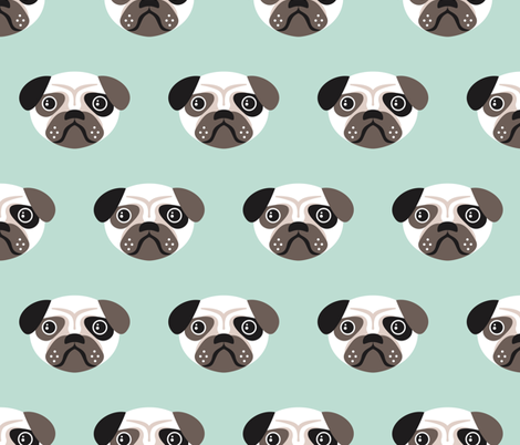 Pug the blue puppy illustration kids pattern fabric by littlesmilemakers on Spoonflower - custom fabric