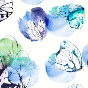Butterfly Watercolor&Ink Repeat pattern