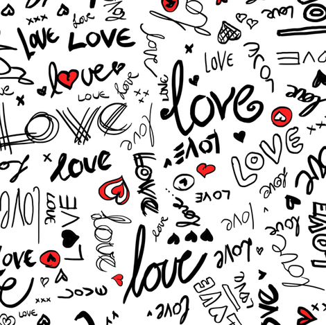 Love and Hearts Typography in black, red and white fabric by micklyn on Spoonflower - custom fabric