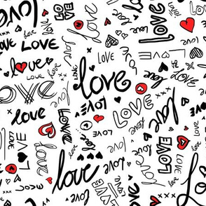 Love and Hearts Typography in black, red and white