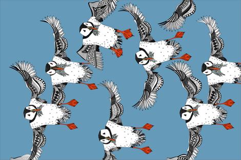 Atlantic Puffins blue tea towel fabric by scrummy on Spoonflower - custom fabric