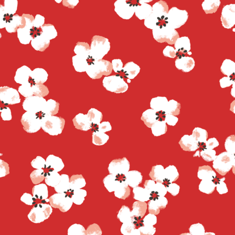 poppy flower_orange fabric by lpt-workshop on Spoonflower - custom fabric