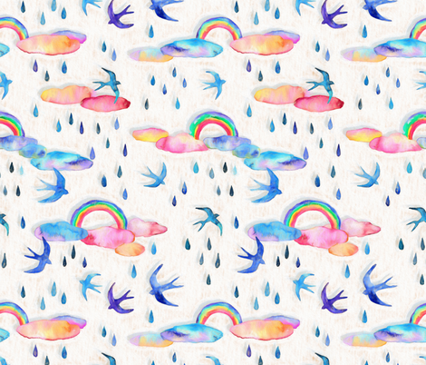 Pastel Rainbows and Swallows - light fabric by micklyn on Spoonflower - custom fabric
