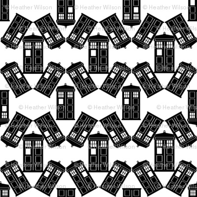 Police Box Scatter in White and Black