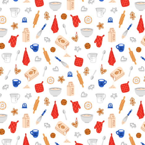 Baking cookies pattern fabric by stolenpencil on Spoonflower - custom fabric