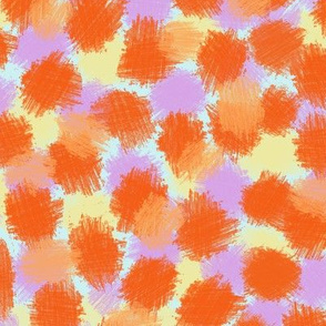 Faux Baby Animal Spots in Bright Oranges, Lavender