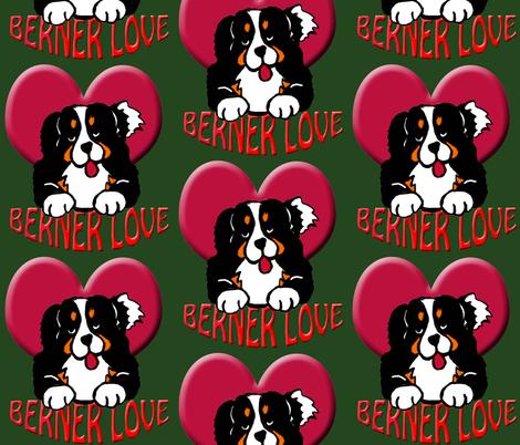 dark_green_berner_love fabric by dogdaze_ on Spoonflower - custom fabric