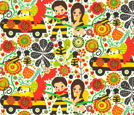 Gwenynen fabric by orangefancy on Spoonflower - custom fabric