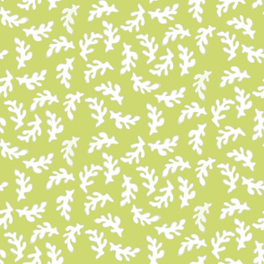 White Coral Pieces on Bright Green