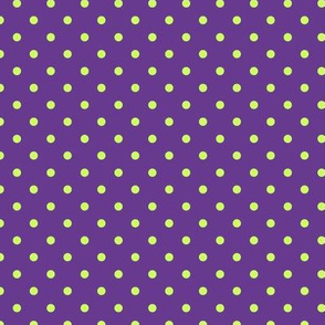 Polka Dot Lime Green on Purple