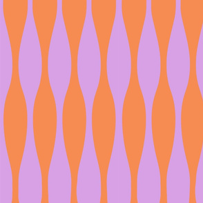 Wavy Bright Orange & Lavender Stripe Pattern