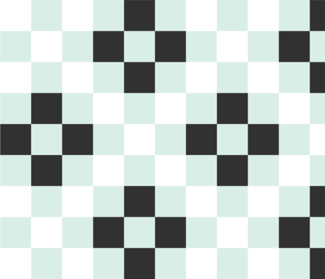 Quilt Cloth - Modern Granny Square Aqua + Black fabric by seekatesewfabric on Spoonflower - custom fabric