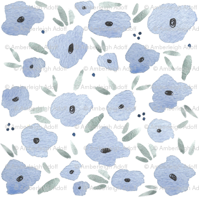 Watercolor Blue Floral