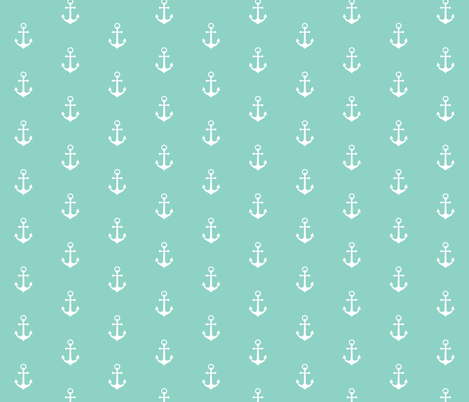 Anchors-Neptune/White-Small Scale fabric by sugarpinedesign on Spoonflower - custom fabric