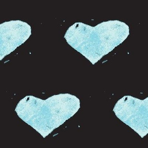 heart stamped - blue on black