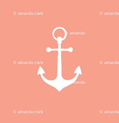 Anchors-coral/white
