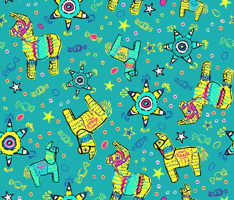 Pop Art Pinatas on Teal fabric by vinpauld on Spoonflower - custom fabric