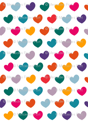 Happy colorful hearts on white