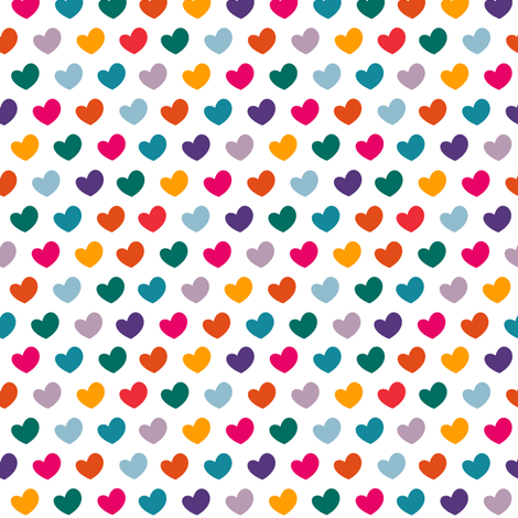 Happy colorful hearts on white fabric by polita on Spoonflower - custom fabric