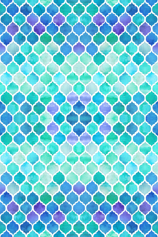 Blue And Green Moroccan Pattern Wallpaper