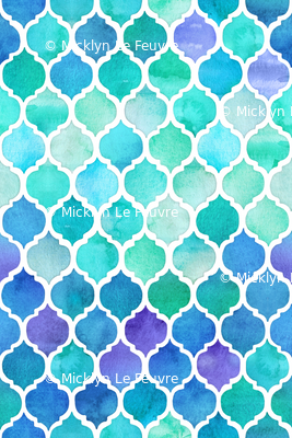 Blue and Green Moroccan Pattern