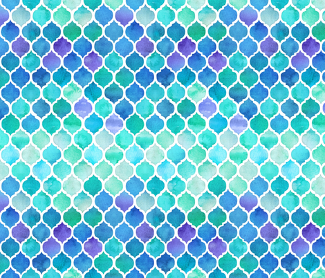 Blue and Green Moroccan Pattern fabric by micklyn on Spoonflower - custom fabric