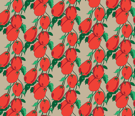 16-13AK Vine Tomato Italian Italy Vegetable Fruit Garden Gardener Food Orange Red Green Tan Khaki _Miss Chiff Designs fabric by misschiffdesigns on Spoonflower - custom fabric