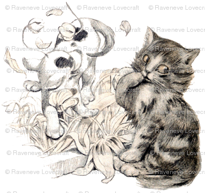 vintage retro kitsch whimsical black cats kittens monochrome white dogs puppy puppies flowers playing