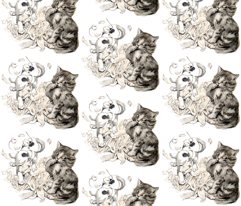 vintage retro kitsch whimsical black cats kittens monochrome white dogs puppy puppies flowers playing  fabric by raveneve on Spoonflower - custom fabric