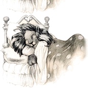 vintage retro kitsch whimsical monochrome sleeping beds lions