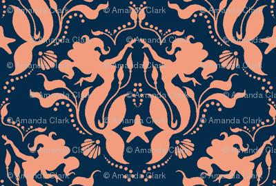 Mermaid Damask Navy/Coral