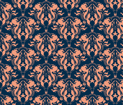Mermaid Damask Navy/Coral fabric by sugarpinedesign on Spoonflower - custom fabric