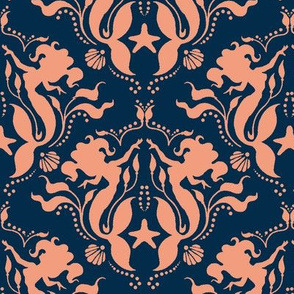 Mermaid Damask Navy/Coral
