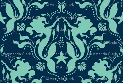 Mermaid Damask Neptune_Navy