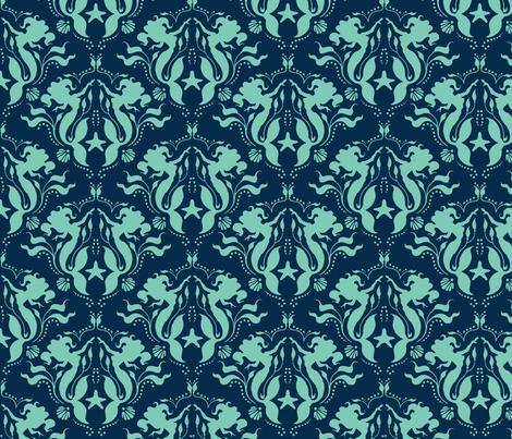 Mermaid Damask Neptune_Navy fabric by sugarpinedesign on Spoonflower - custom fabric