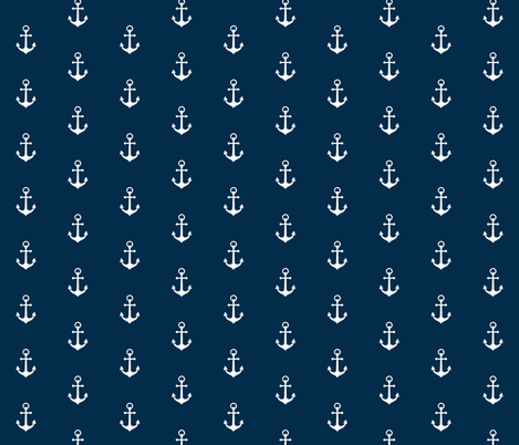 Anchors-Navy/White-Small Scale fabric by sugarpinedesign on Spoonflower - custom fabric