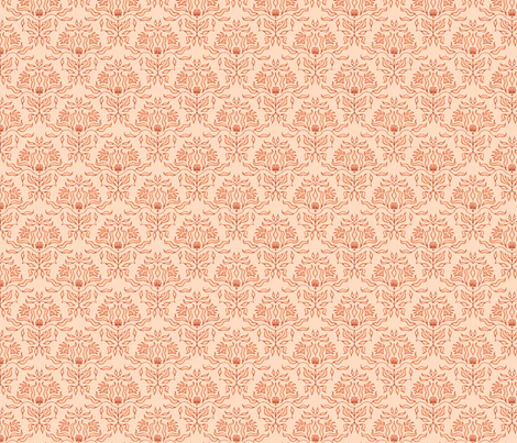 Seaweed Damask- Coral fabric by sugarpinedesign on Spoonflower - custom fabric