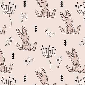 Adorable little baby bunny geometric scandinavian style rabbit for kids gender neutral soft beige