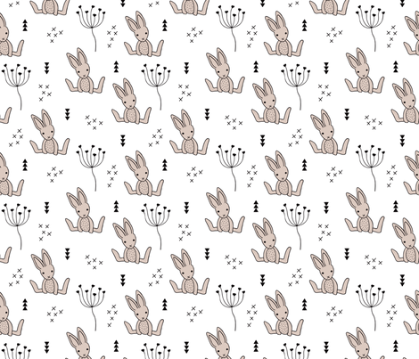 Adorable little baby bunny geometric scandinavian style rabbit for kids gender neutral black and white fabric by littlesmilemakers on Spoonflower - custom fabric