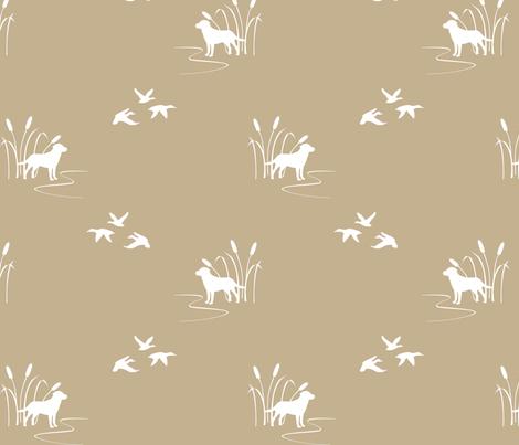 Dog Ducks Scene Tan fabric by mrshervi on Spoonflower - custom fabric