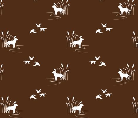 Dog Ducks Scene Brown fabric by mrshervi on Spoonflower - custom fabric