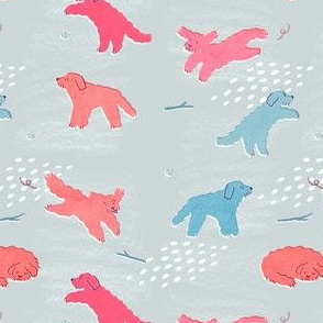 Leaping Labradoodles - Large Doodles (orange/blue)