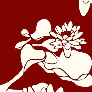 Water Lily print ivory oxblood