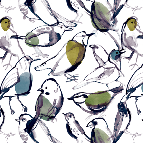 birds - color fabric by wideeyedtree on Spoonflower - custom fabric