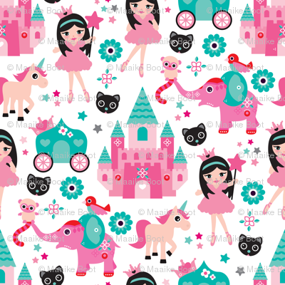 Adorable pink princess dreams with unicorn elephants cats and magic sparkle fairy XS