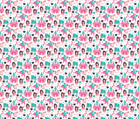 Adorable pink princess dreams with unicorn elephants cats and magic sparkle fairy XS fabric by littlesmilemakers on Spoonflower - custom fabric
