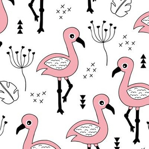 Cute little tropical flamingo birds for girls fun spring summer illustration design black and white