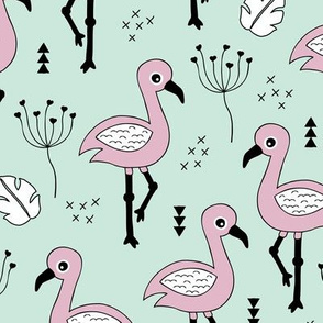 Cute little tropical flamingo birds for girls fun spring summer illustration design mint violet