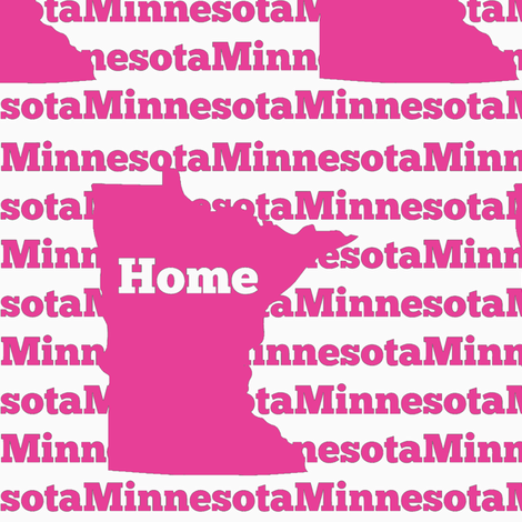 Home in Minnesota-Pink fabric by sunshineandspoons on Spoonflower - custom fabric