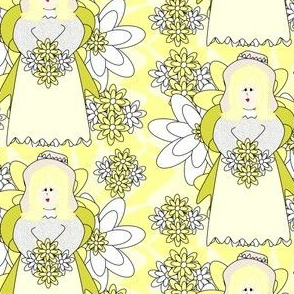 Isabella Angel and Yellow Flowers Fabric #1